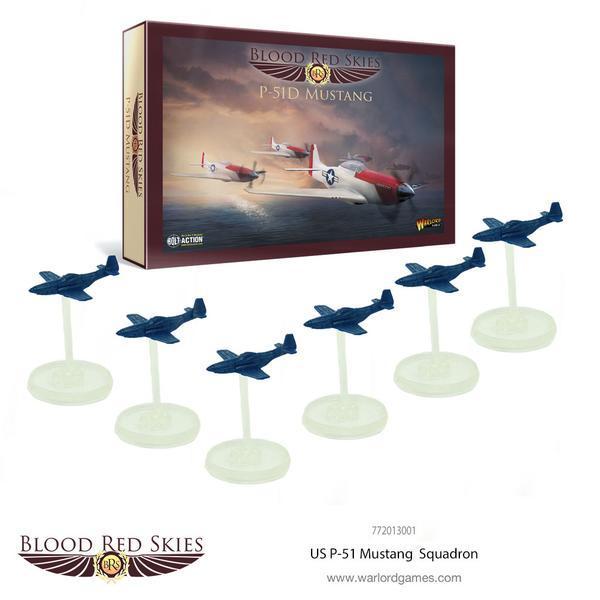 US P-51 Mustang 6 Plane Squadron, Blood Red Skies