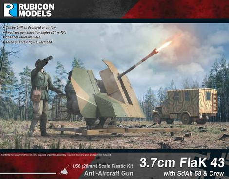 3.7cm Flak43 with SdAh 58 Trailer & Crew, Rubicon Models