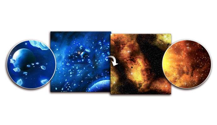 Ice Comets / Fiery Nebula Gaming Mat 3ft x 3ft