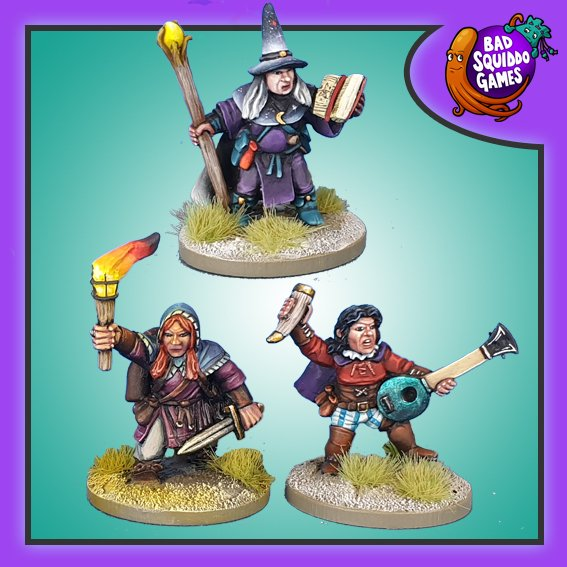 Dwarf Wizard, Bard and Rogue, Bad Squiddo Games