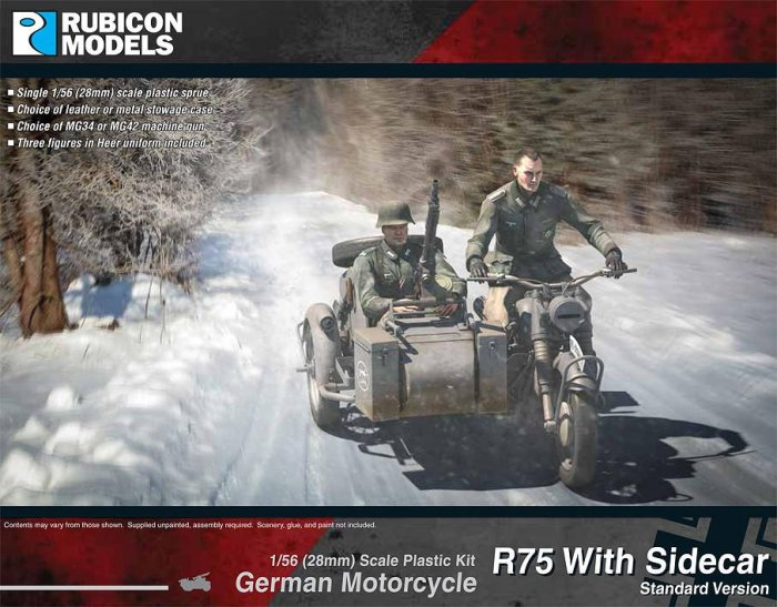 Motorcycle R75 with Sidecar German, Rubicon Models