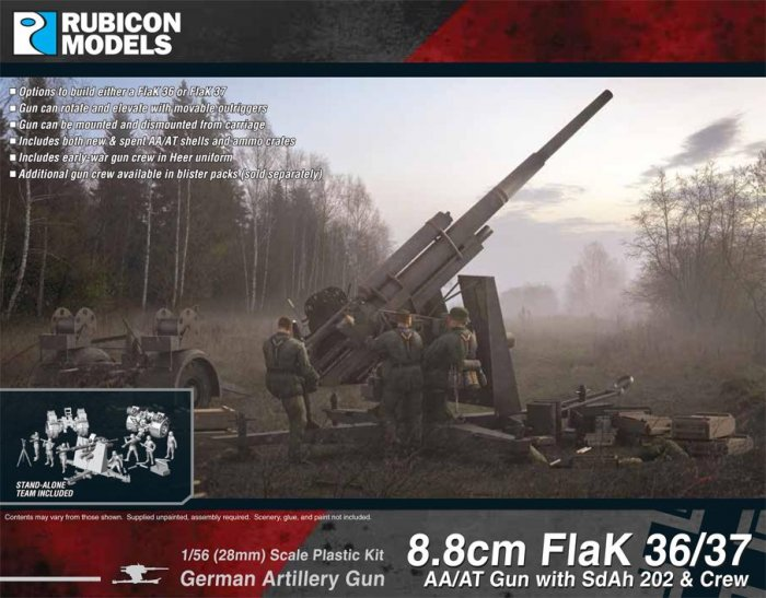 8.8cm Flak 36/37 AA/AT Gun with SdAh 202 & Crew, Rubicon Models