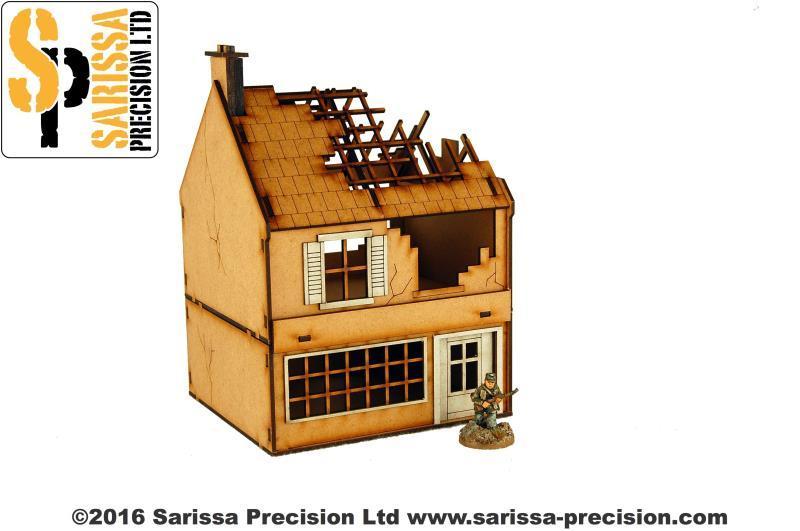 Destroyed Small Shop 28mm, Sarissa Precision