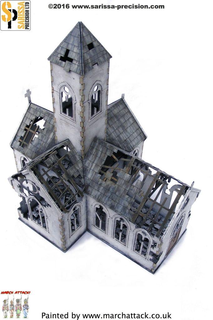 Destroyed Village Church 28mm, Sarissa Precision