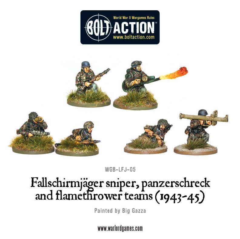 Fallschirmjager Sniper, Panzerschreck and Flamethrower Teams