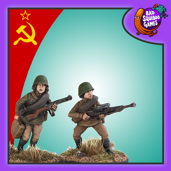 Soviet Infantry with LMG - inc loader, Bad Squiddo Games