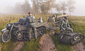 SdKfz 2 Kettenkrad with Trailer if.8 & Goliath, Rubicon Models