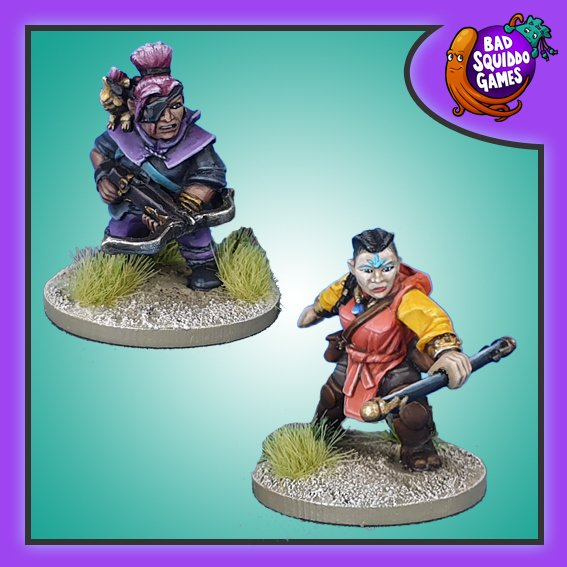 Dwarf Crossbow and Monk. Bad Squiddo Games