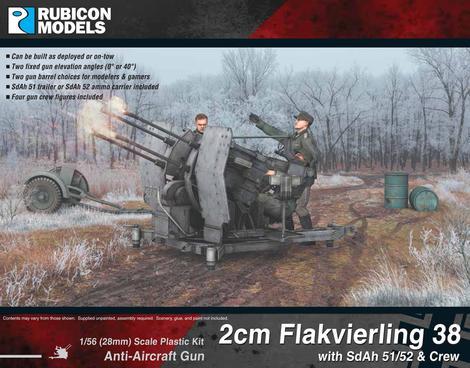 2cm Flakvierling 38 with SdAh 51/52 Trailer & Crew, Rubicon Models