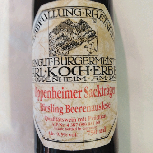 1999 Riesling Beerensauslese Oppenheimer Sacktrager Carl Koch Erben - Rheinhessen