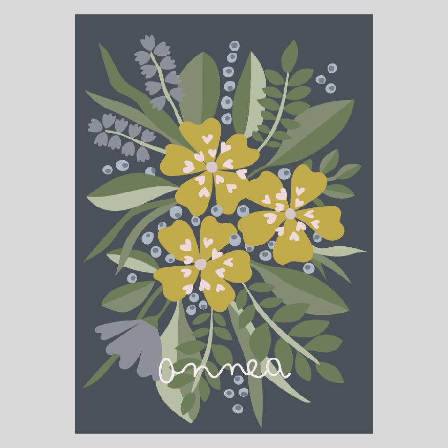 Kukkia ja mustikoita postikortti