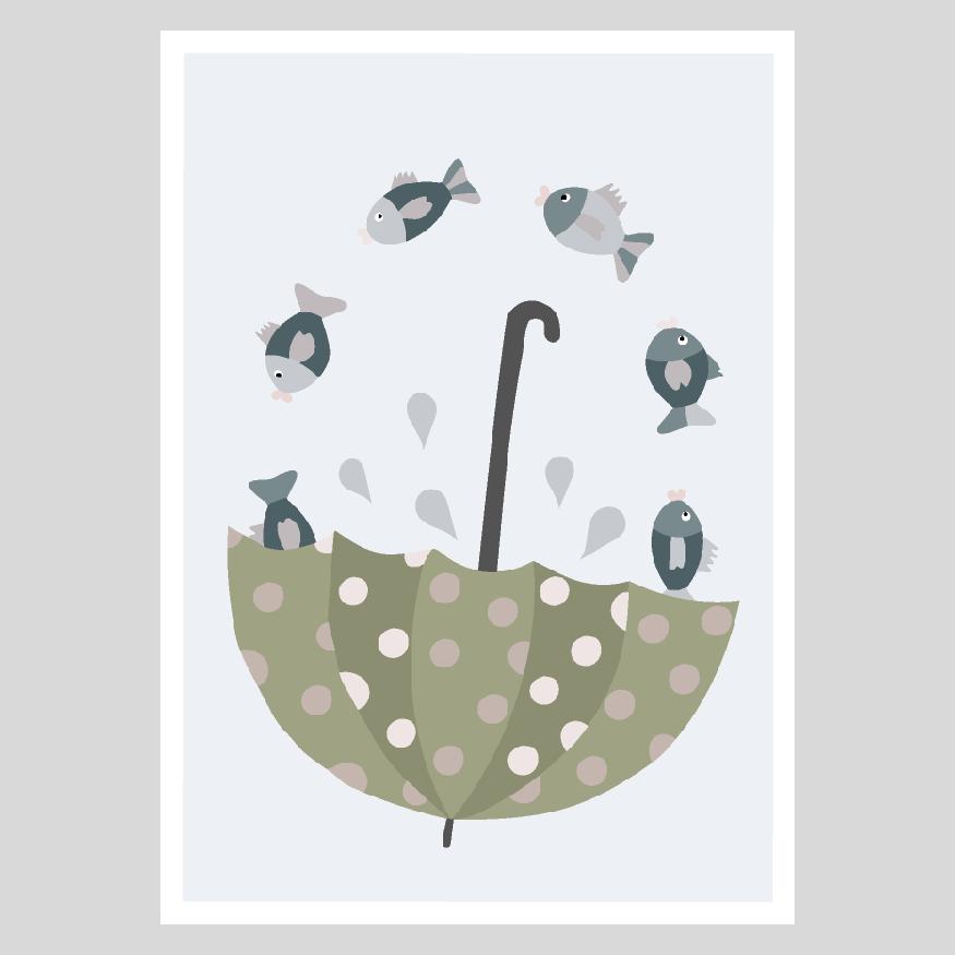 Kalat sateenvarjossa postikortti