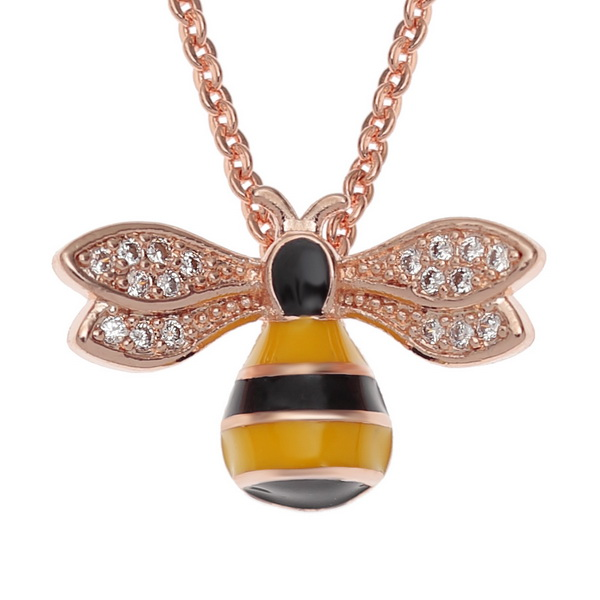 Bee with Diamante Wings Necklace