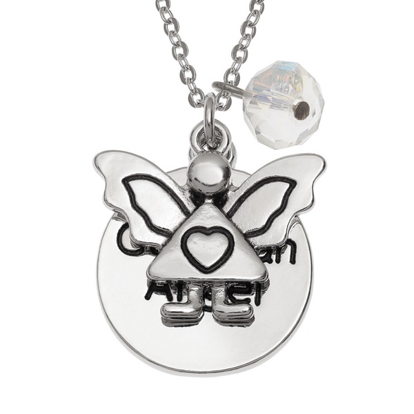 Guardian Angel with Glass Stone Necklace