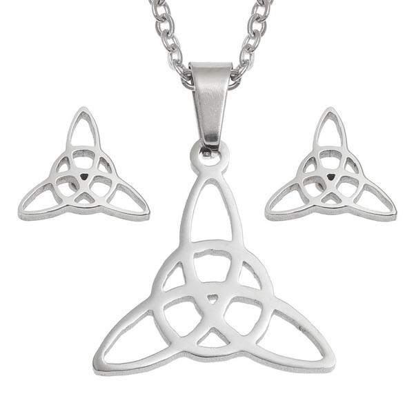 Celtic Triquetra Necklace and Earring Set
