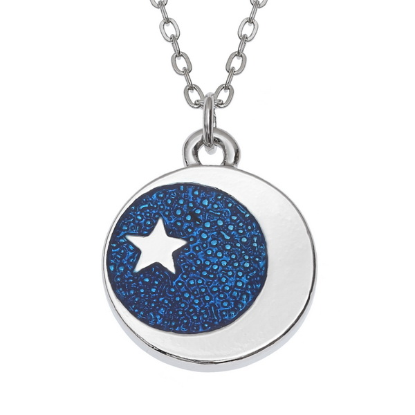 Blue Moon & Stars Pendant Necklace