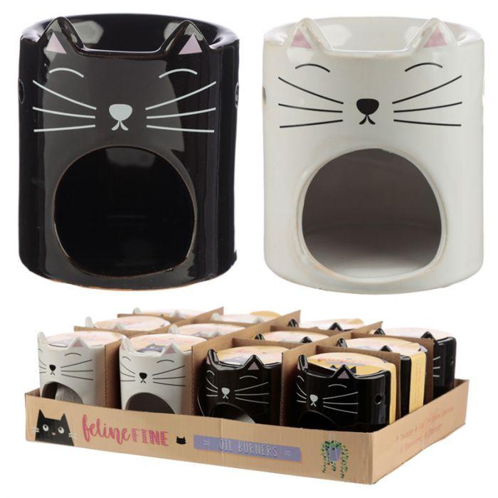 Feline Fine Ceramic Cat Head Oil Burner 9.5cm