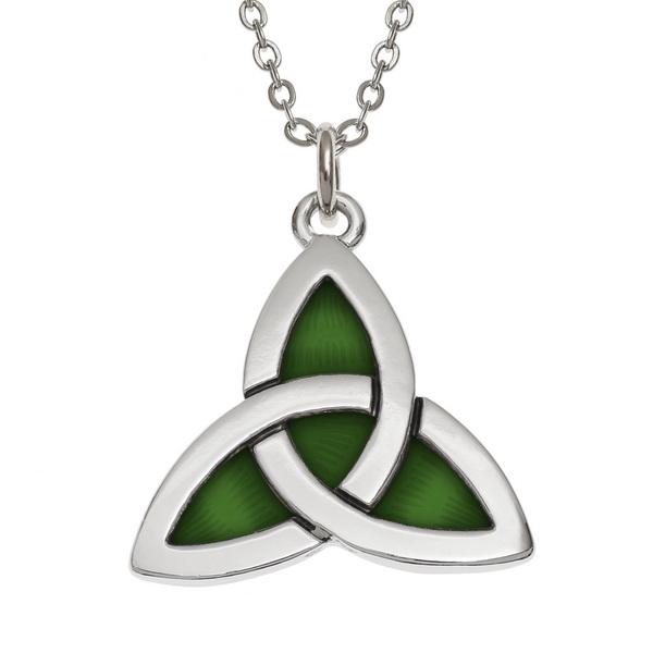Green Celtic Triquetra Necklace