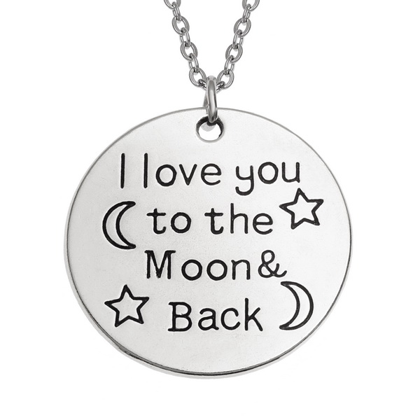"""""""I Love You to the Moon & Back"""" Circular Pendant Necklace"""