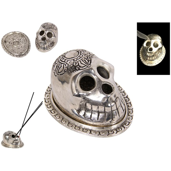 Silver Skull Metal Incense Holder