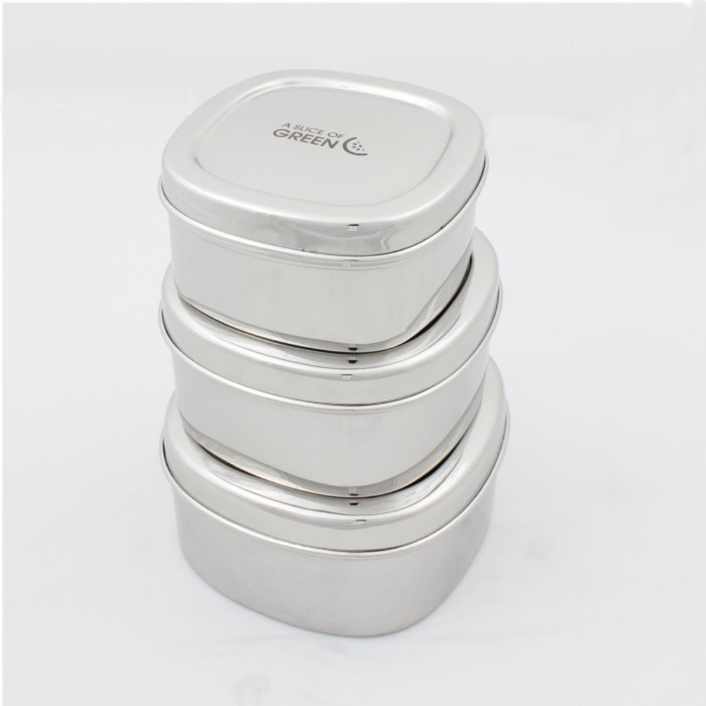 3 Stainless Steel Lunch Pots