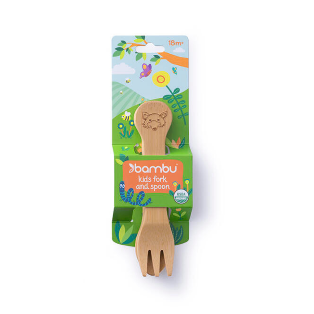 Kid's Bamboo Fork & Spoon Set (18M+)