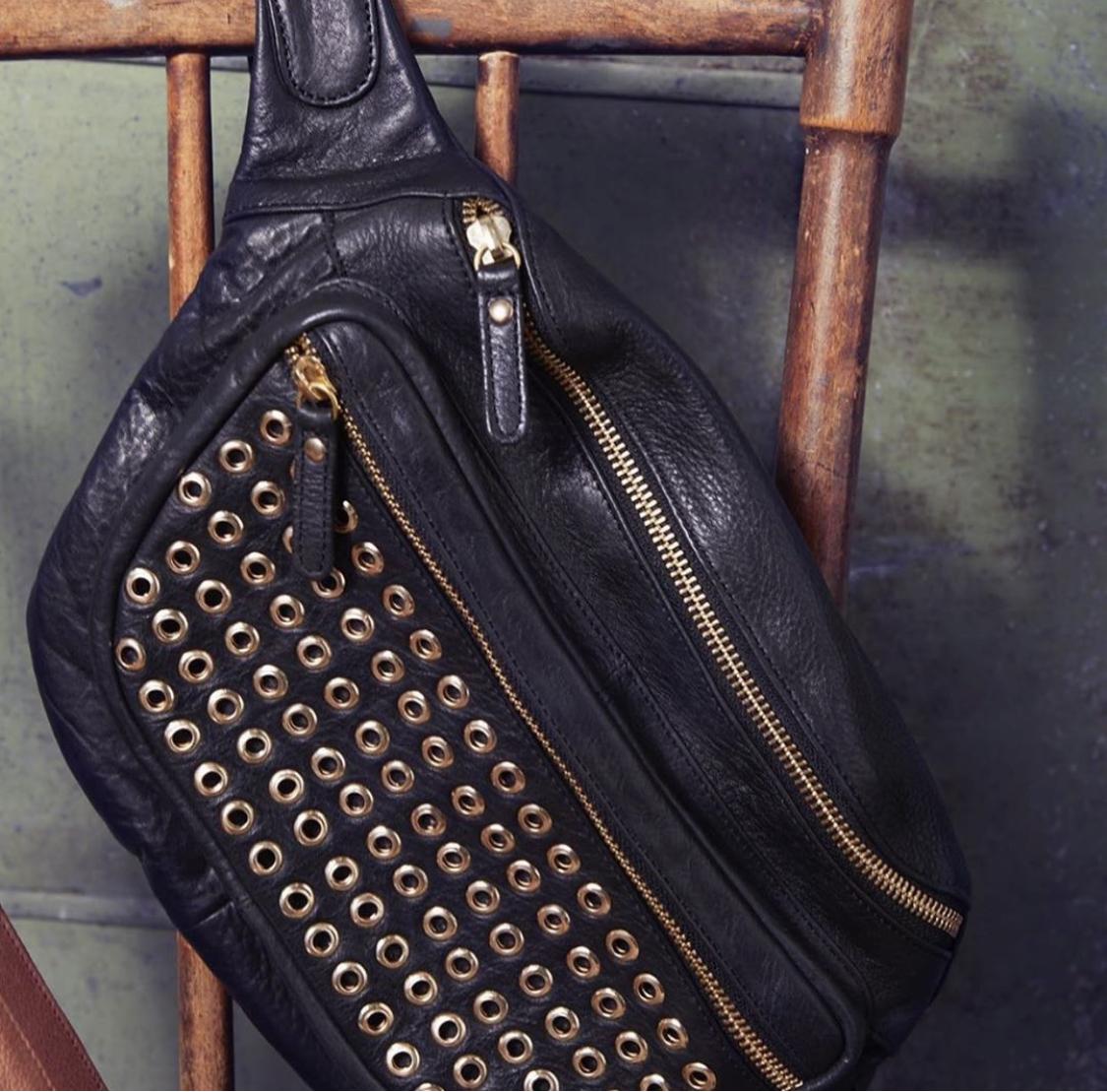 Black Colour tomboy studded bumbag