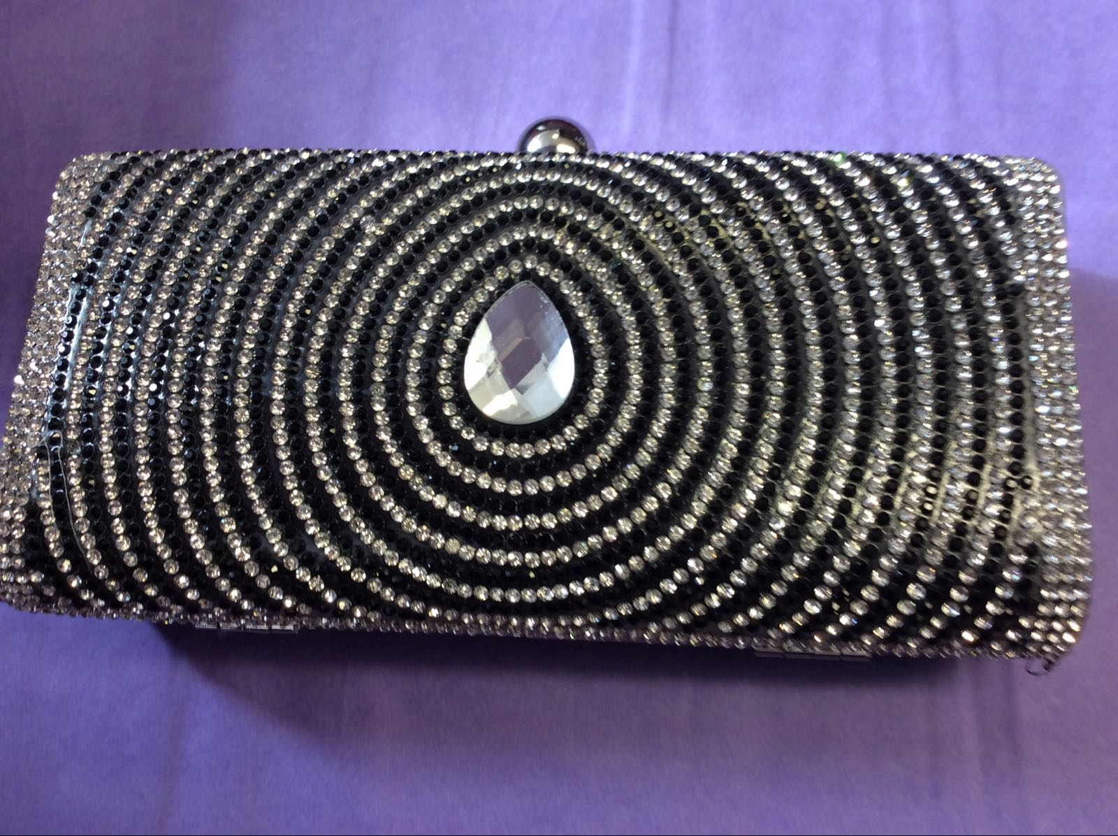 Black & Silver Diamante Clutch Bag