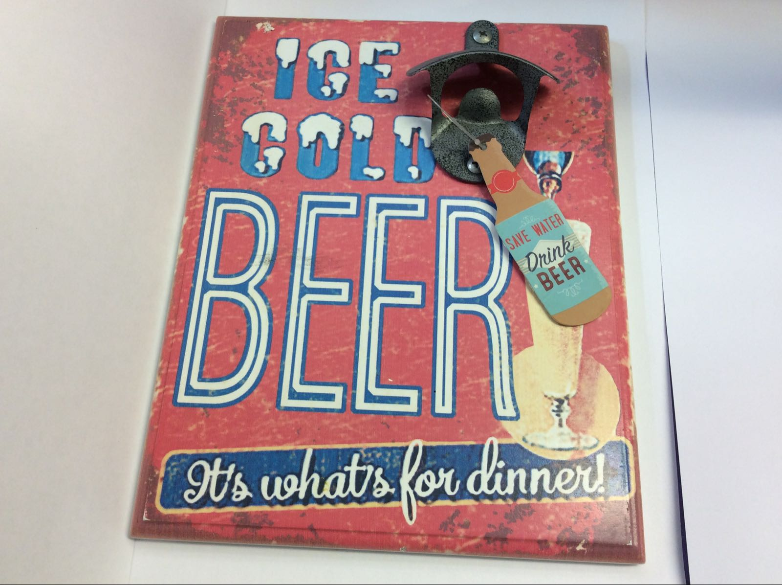 Retro Bottle Opener Plaque Ice Cold Beer