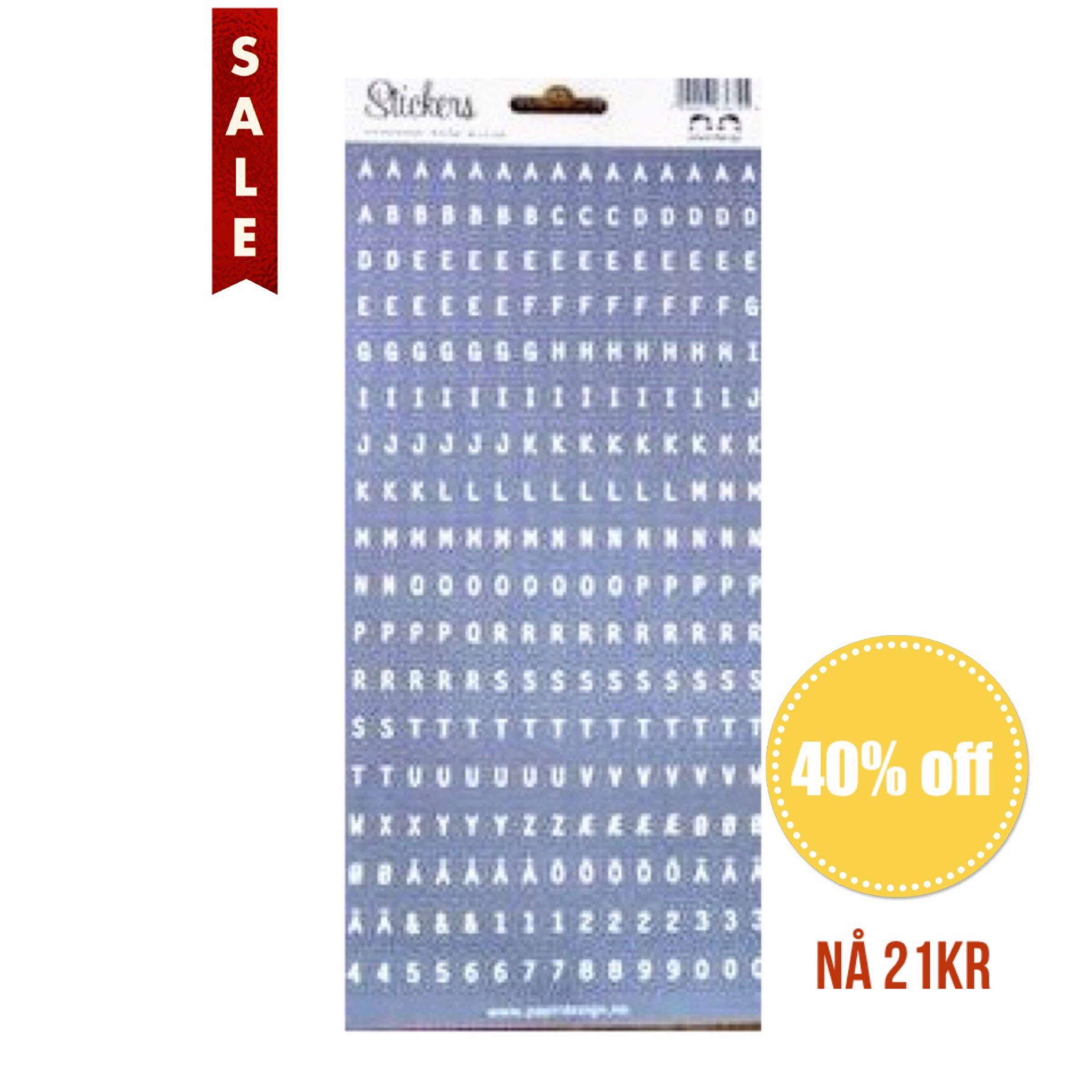 Papirdesign Alphabet Stickers / Klistremerker Alfabet - Grå / Grey