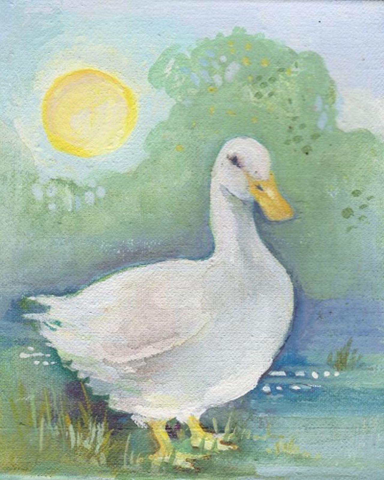 'Duck & Moon' Furzedown Gallery Mini Card