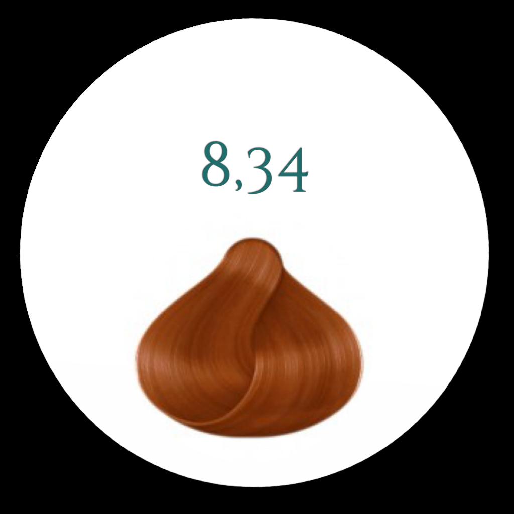 8.34 Hårfarve Intens gylden Kobber