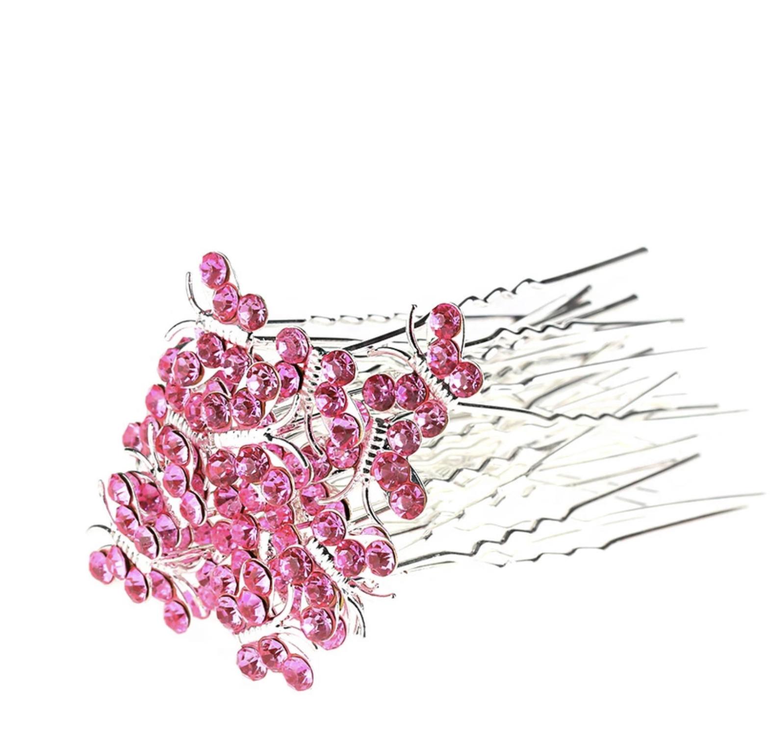 Hairpins 2pk pink sommerfugl