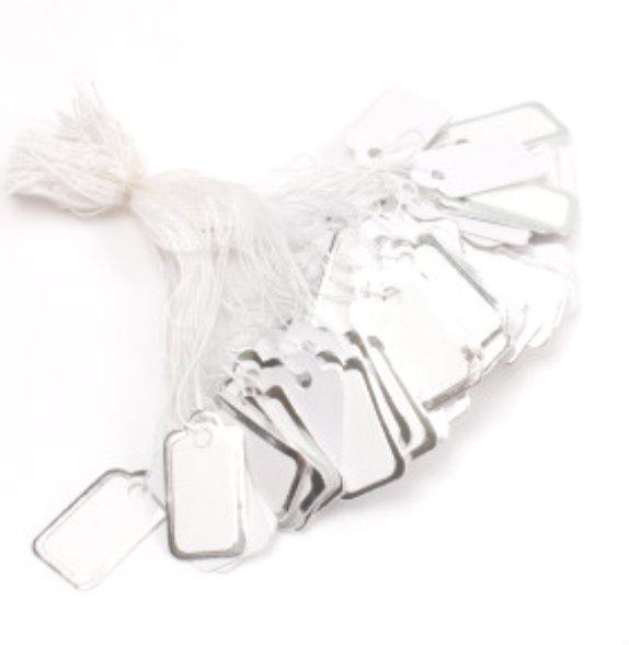 PrisMærker hvid med sølv kant
