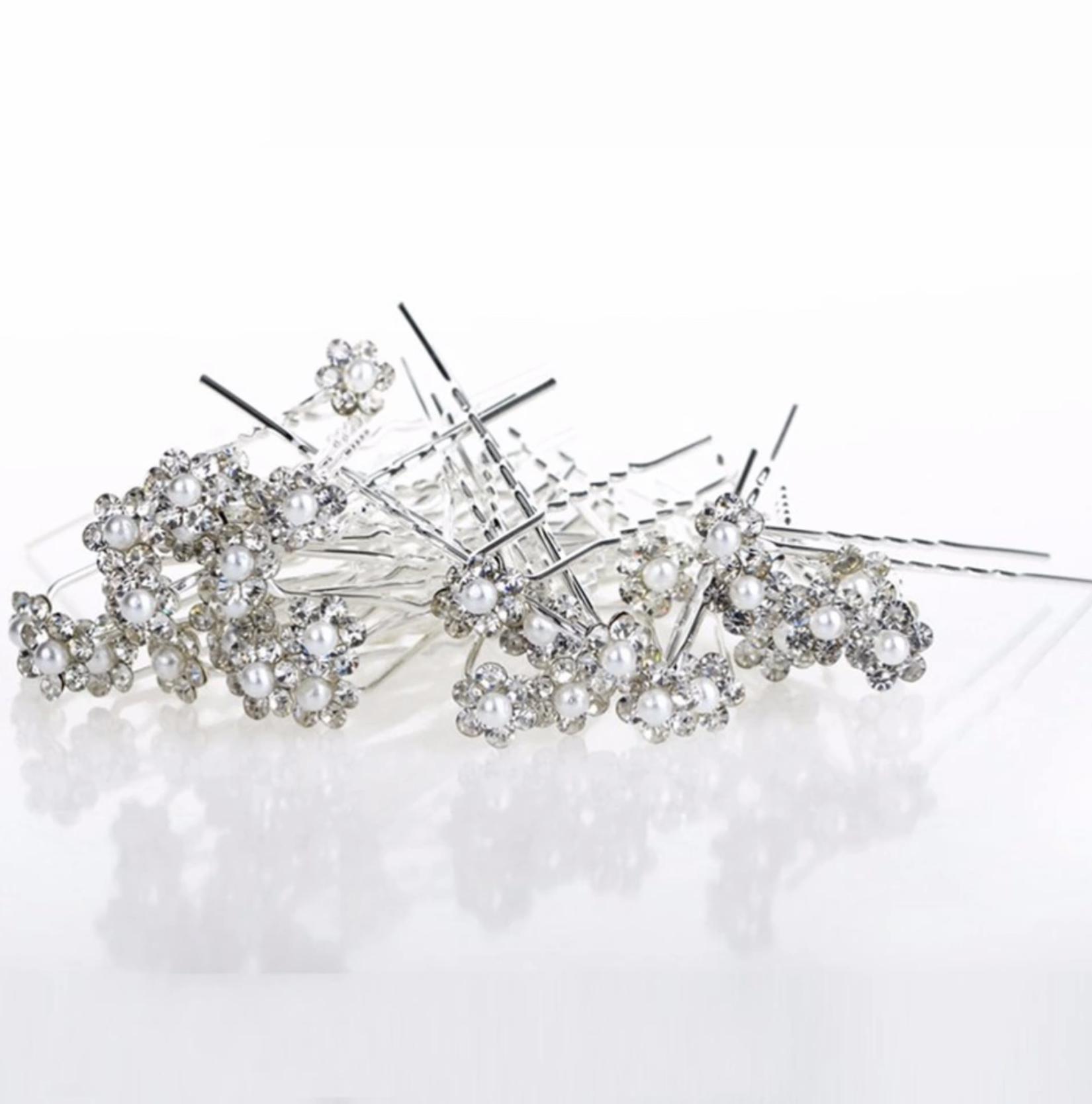 Hairpins 2 pk Blomst & hvid perle