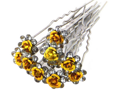 Hairpins Guld Roser 2pk