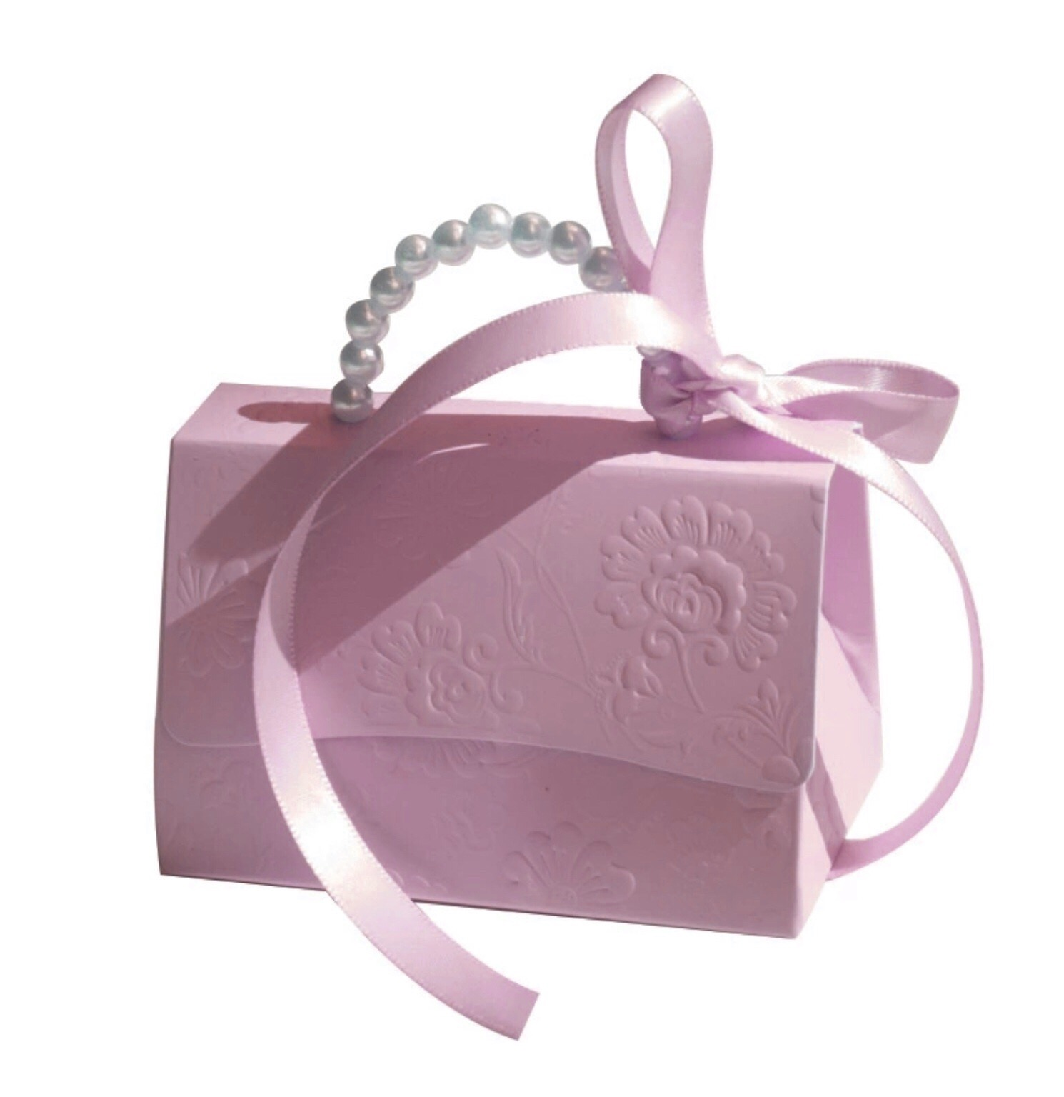 Gaveæske lyserød taske m. Perle hank