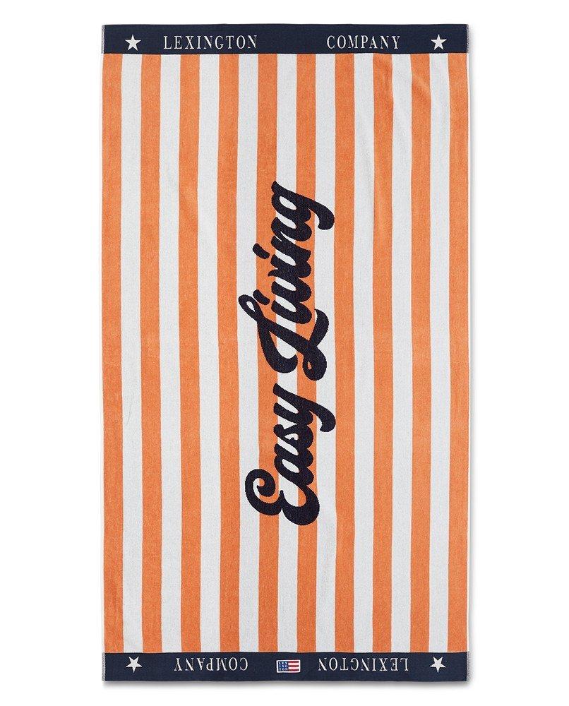 LEXINGTON GRAPHIC COTTON VELOUR BEACH TOWEL PEACH MELON/WHITE