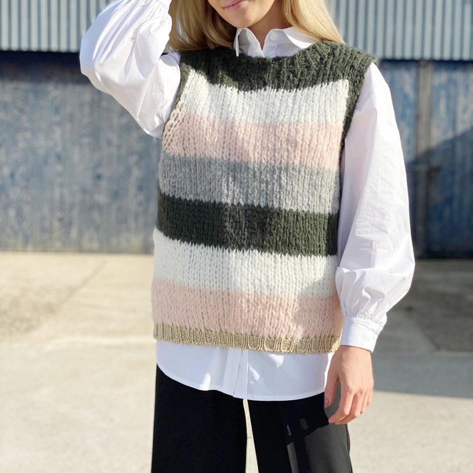 Noella Vest Kala Oliven grønn/rosa striper