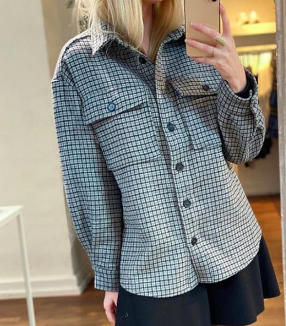 Sigga skjortejakke Grey Cheks fra Noella