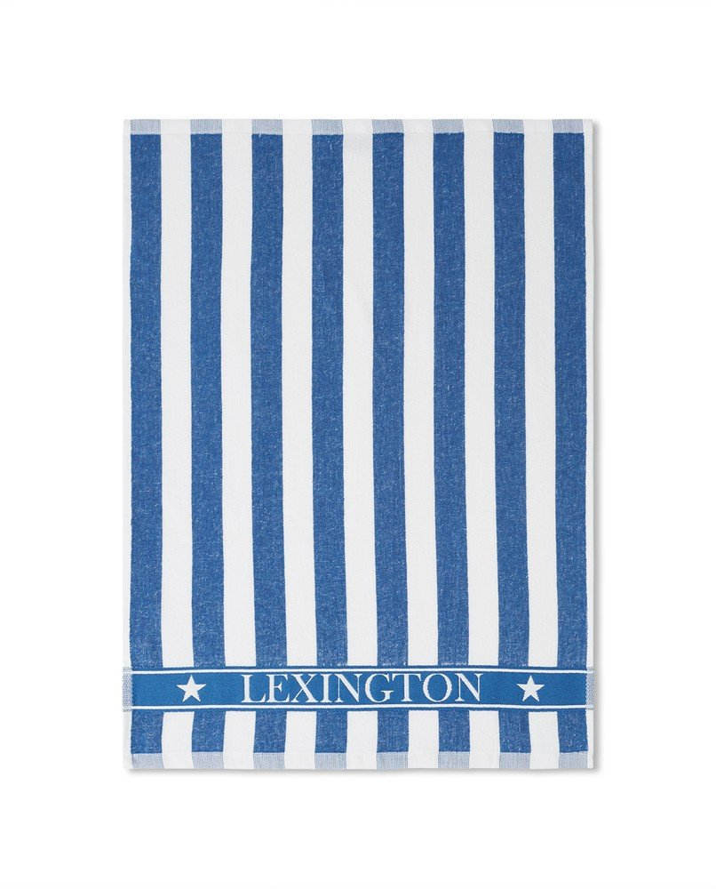 LEXINGTON STRIPED LOGO ORGANIC COTTON TERRY KITCHEN TOWEL, BLUE/WHITE