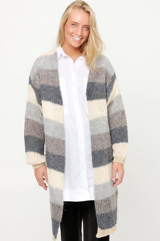Noella Kala Cardigan Long Grey/brown