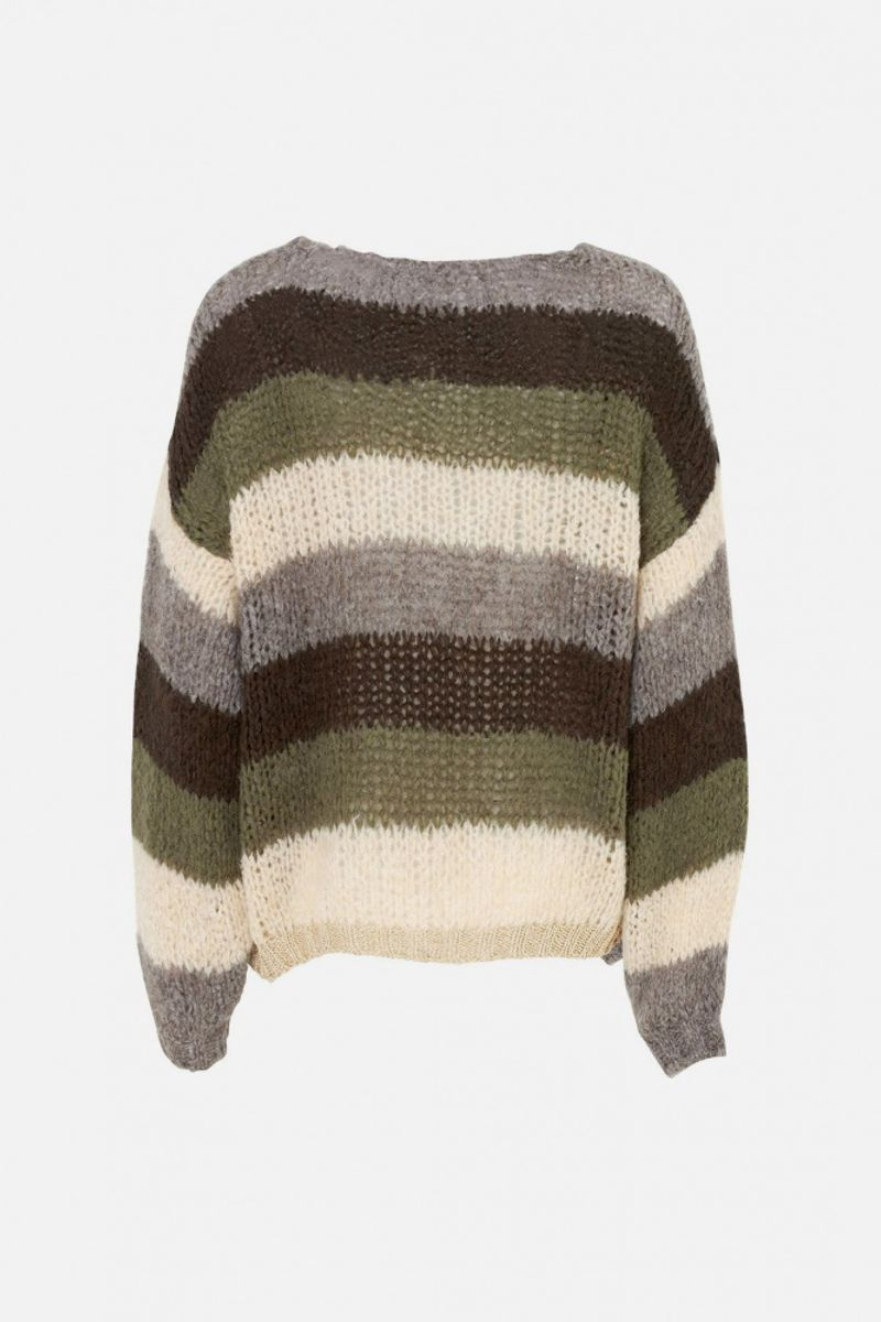 Noella Kala Cardigan Light Nature/Olive Stripes