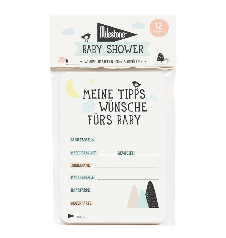 Babyshower Cards - Weiß - Milestone