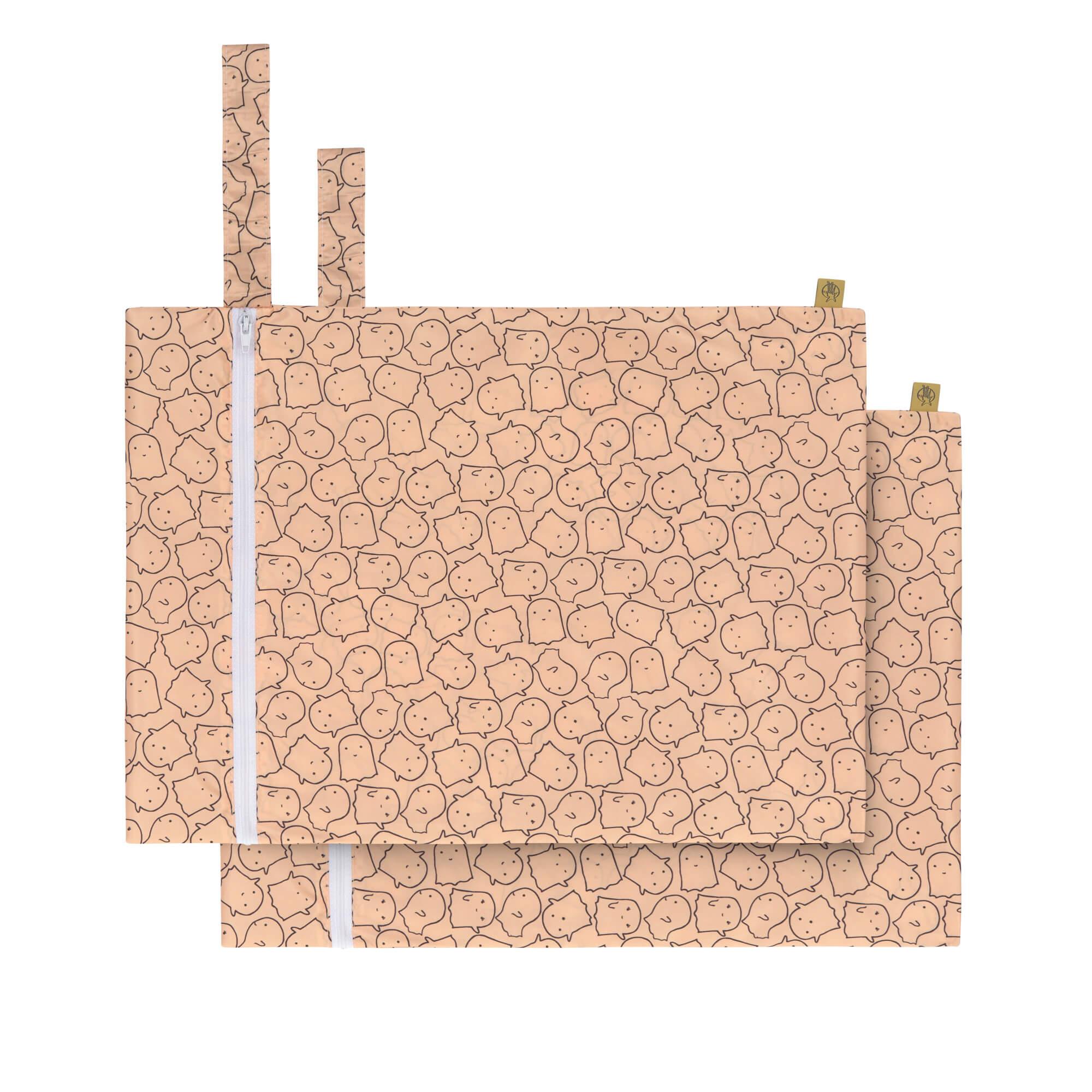 Nasstasche / Wet Bag (2 Stk) - Little Spookies Peach - Lässig