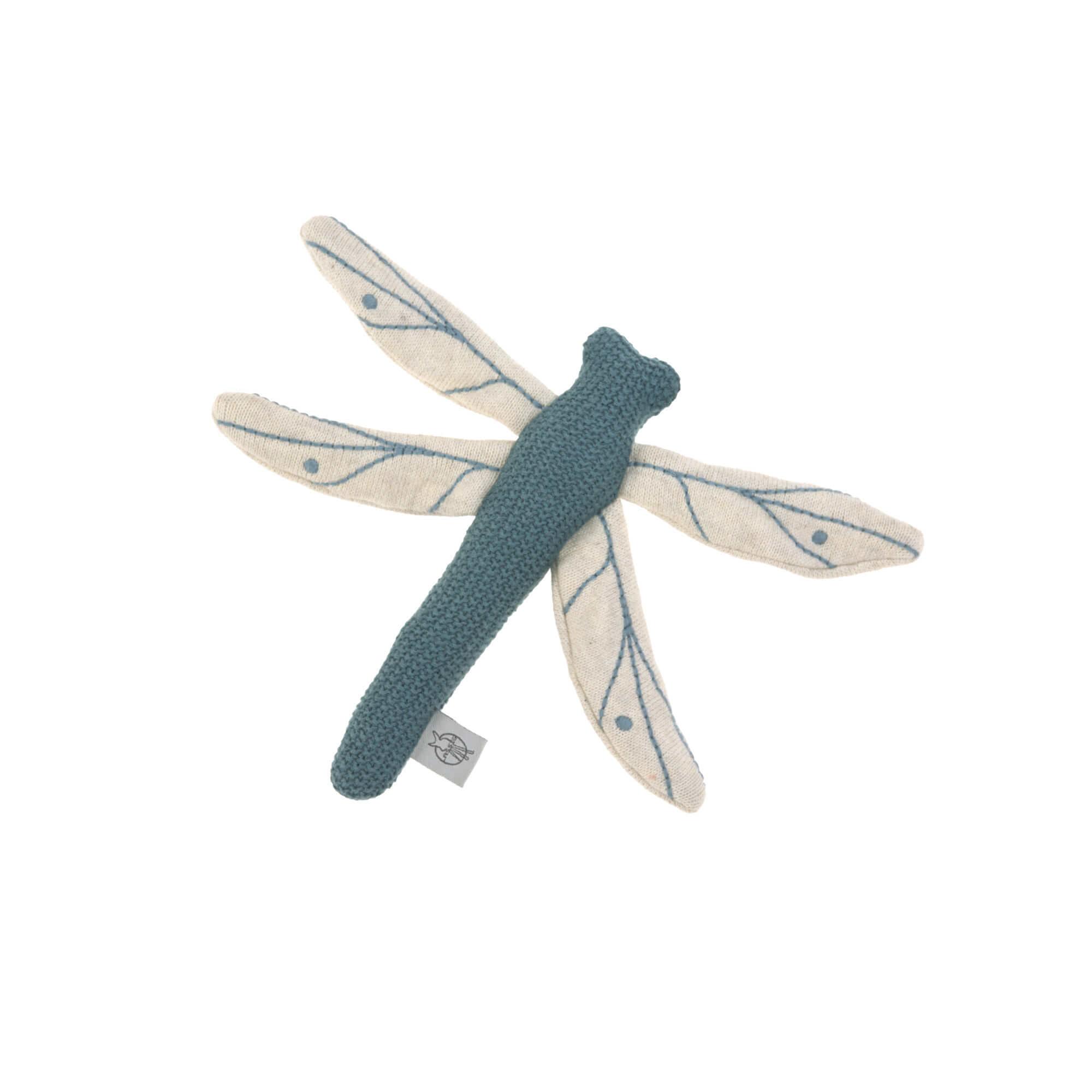 Kuscheltier mit Rassel & Knisterpapier - Libelle Blau - Lässig