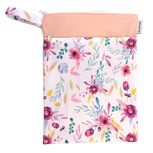 Nasstasche / Wet Bag (M) mit Trockenfach - Blumen Rosa - Avo & Cado
