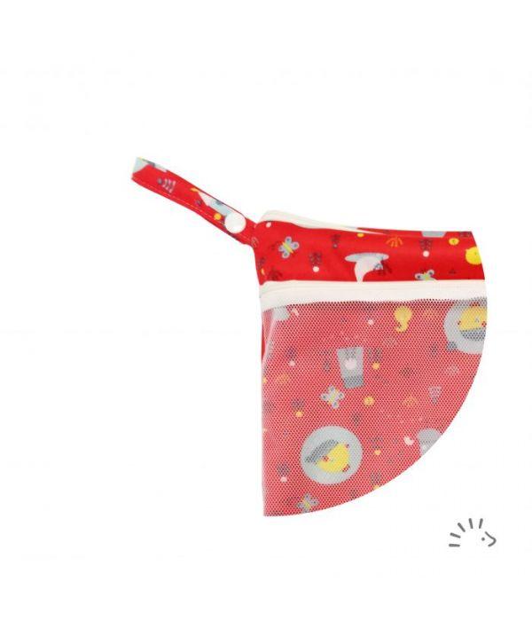 Windelsack mit Netztasche - Birdy Red - PoPoLiNi