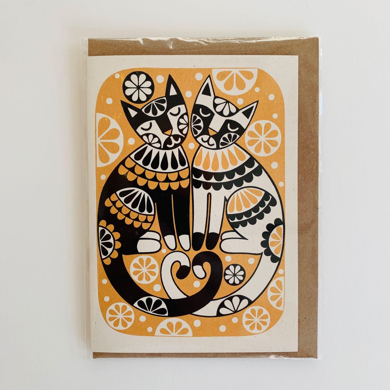Karoline Rerrie - Love Cats Screenprinted Greeting Card