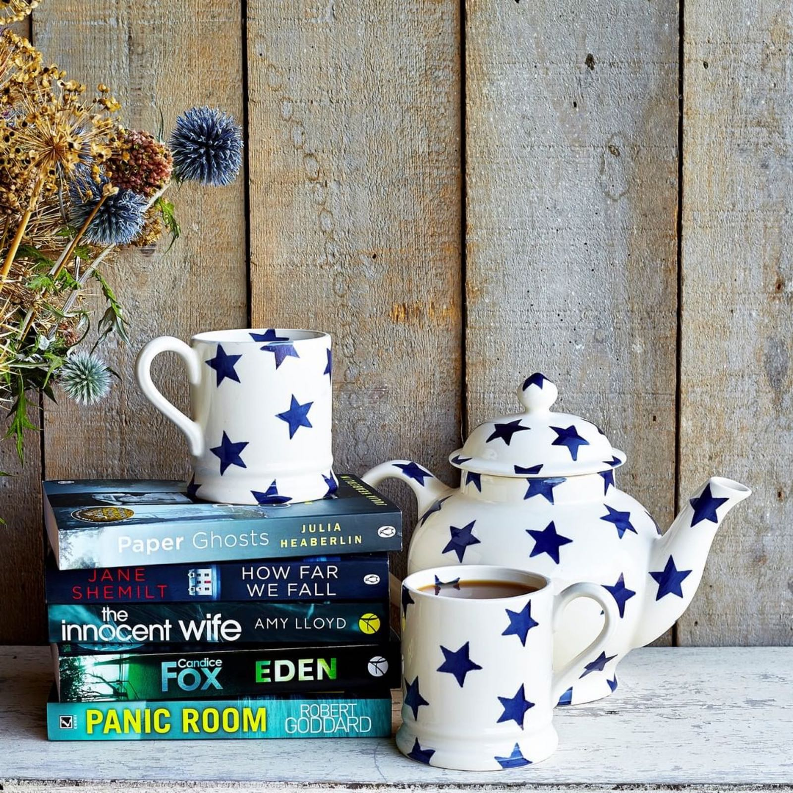 Emma Bridgewater Blue Star 4 mug Teapot Boxed
